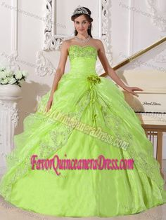 Beaded Yellow Green Quince Dress