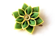 Green and Yellow Kanzashi Flower by Scarlett and Maria