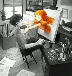 Oh the inspiration from this..... If you switched the girl and the boy it might be Alla painting Attin and he's jumping out of the picture...