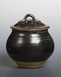 Bernard Leach (1887‑1979)   Lidded Jar,  c.1960   Reduced stoneware, 170 x 140 x 140 mm Collection Tate