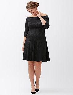 In luxe ponte with a subtle metallic shimmer, this flattering fit & flare dress by Lela Rose always steals the spotlight. Sophisticated boat neckline and elbow length sleeves. Back zipper closure. lanebryant.com