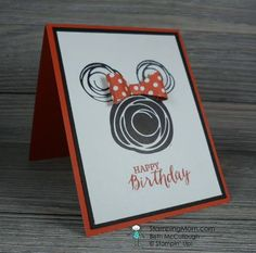 Stampin' Up! Minnie Mouse birthday card made with the Swirly Bird stamp set… Disney Scrapbook, Scrapbook Cards, Disney Cards, Kids Birthday Cards, Diy Birthday, Christmas Cards To Make, Stamping Up Cards, Cool Cards, Kids Cards