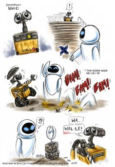 This drawing contains some minor spoilers (just tidbit from the early part of the movie). Just a bunch of quick doodles of Wall-E and Eve from Disney/Pi. Wall-E: Wall-E and Eve doodles Disney Pixar, Arte Disney, Disney Fan Art, Disney And Dreamworks, Disney Cartoons, Disney And More, Disney Love, Walle Y Eva, Doodle Wall