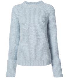 Light blue merino and alpaca blend cuffed raglan crewneck jumper from Frame Denim. Shop now! Blue Sweaters, Cashmere Sweaters, Sweaters For Women, Crewneck Sweaters, Ribbed Turtleneck, Ribbed Top, Business Outfits, Frame Denim, Denim Fashion