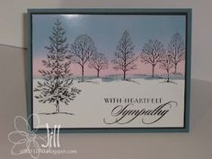 tecnique for inking the sky....use post it notes....stampin up tree set