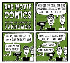 The Alien has a chainsaw! No! Bad Movie Comic by JARHUMOR #funny #comics #horror