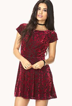 Poetic Velveteen Floral Dress | FOREVER21 - 2000074169