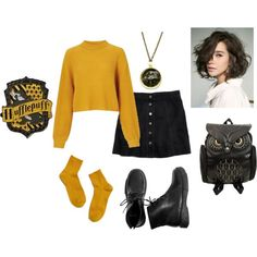 Inspiration für das Fashmates-Outfit: Hufflepuff – The World Mode Harry Potter, Harry Potter Style, Harry Potter Outfits, Disney Inspired Fashion, Disney Fashion, Fashion Mode, Fashion Outfits, Cool Outfits, Casual Outfits