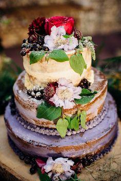 Rustic Naked Wedding Cake |  English Country Garden Wedding | Jenny Packham Wedding Dress | Outdoor Ceremony | Rustic Styling | Etsy Bridesmaid Dresses | Marianne Chua Photography | http://www.rockmywedding.co.uk/allie-sam/