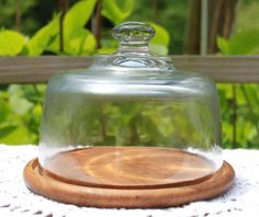 Glass Cloche and Wooden Base.