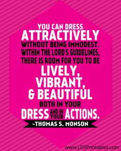 LDS Printables: Modesty in Dress and Action