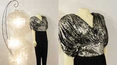Vintage Jumpsuit Black & Silver Harem Girl Pants Susan Rosetti for Vijack Size 9/10 Modern Size Medium
