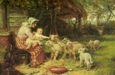 Frederick Morgan: Springtime, Feeding the Lambs