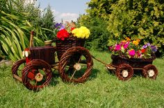 Traktor mit Hänger aus Korbgeflecht, Rattan, Körbe, Pflanzkorb, Pflanzkasten* | eBay