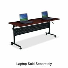 """Flipper Training Table Size: 60"""" W, Finish: Mahogany by Lorell. $288.46. 60669 Size: 60"""" W, Finish: Mahogany Features: -Black frame.-Radius edges and rounded corners.-Modesty panel.-Cord management.-Two locking.-Four 2"""" casters.-Lever mechanism.-Perforated is made of black power coated steel.-Use for training and conferencing.-29.5"""" H x 60"""" W x 24"""" D.-29.5"""" H x 72"""" W x 24"""" D.. Save 59%!"""