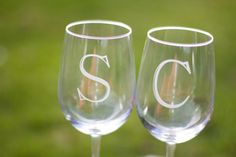 Personalized etched glass with initial. by WaterfallDesigns