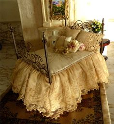 Custom Order for Michelle 1 12 Scale Dressed Rose Wrought Iron Bed