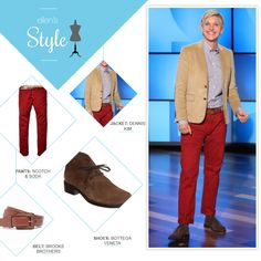 Ellen's Look of the Day: tan blazer, red pants and boots