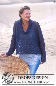 - DROPS Short, wide jumper in pattern in Vivaldi - Free pattern by DROPS Design Knitting Designs, Knitting Patterns Free, Free Knitting, Free Pattern, Crochet Patterns, Drops Design, Drops Patterns, Mohair Yarn, Summer Knitting