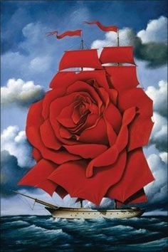Red Rose Ship 2007 Limited Edition Print by Rafal Olbinski - Lithograph on Paper Art Visionnaire, Art Environnemental, Rene Magritte, Max Ernst, Magic Realism, Surrealism Painting, Visionary Art, Wassily Kandinsky, Keith Haring