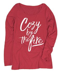 Look at this #zulilyfind! Red 'Cozy by the Fire' Long-Sleeve Tee #zulilyfinds