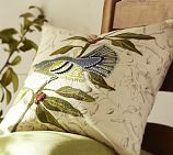 Bird embroidered pillow cover