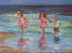Children playing on the beach. Painting by Elizabeth Blaylock. #beach #art