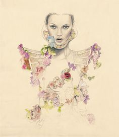 drawing, fashion, flowers, kate moss