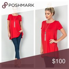 "Red Lurex Golden Age Tunic Make a Statement in this Red Lurex Golden Age Tunic! Scoop Boat Neckline and Short Sleeves. Super Soft, Easy to Pullover, with a Loose Comfortable Fit. Looks Great with Skinny Jeans or Leggings! 95%Viscose 5%Spandex. Made in the USA!    ✨Use the ""Buy Now"" or ""Add to Bundle"" Button to select your size for Purchasing✨ Boutique Tops Tees - Short Sleeve"