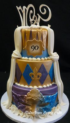 Dual Sided Cake - Wedding on one side and Birthday on the back side created by Las Vegas Custom Cakes