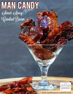 Man Candy Sweet Spicy Candied Bacon Recipe served in a mini martini glass Bacon Recipes, Candy Recipes, Cooking Recipes, Bacon Meals, Smoker Recipes, Protein Recipes, Bacon Appetizers, Appetizer Recipes, Brunch Recipes