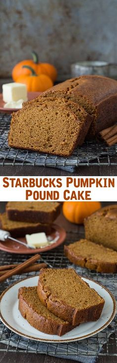 Fall Recipes ~ This recipe tastes just like Starbucks Pumpkin Pound Cake - takes 15 minutes to prep, you will want to share this with friends and family! Can be made in muffin, mini muffin or mini loaf pans. Fall Desserts, Just Desserts, Delicious Desserts, Dessert Recipes, Yummy Food, Pumpkin Recipes, Fall Recipes, Holiday Recipes, Spiced Pumpkin