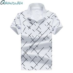 Grandwish 2018 New Summer Polo Hommes Diagonal Stripes Printing Polo Shirts Mens Brands Plus Size Men's Polo Shirt Compression Clothing, Stylish Mens Outfits, Men's Polo, Polo T Shirts, Line Patterns, Printed Shirts, Men Casual, Mens Tops, Printing