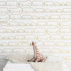 Gold Traffic Jam Wallpaper - This chic and modern wallpaper is the perfect accent for any nursery or playroom. #PNshop