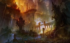 war fire destruction bridges fantasy art horses temples statues ancient artwork pillars fictional citys banners Fan Ming - Wallpaper (#2958234) / Wallbase.cc