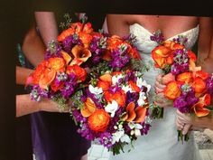 Purple and Orange October wedding @MEGAN Hubner ..... not really very fall like but still pretty for the time of year.