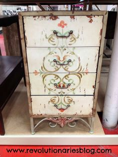 adorable rustic and stenciled dresser