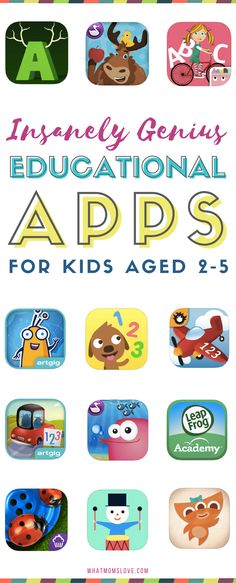 Best Educational Apps for toddlers and preschoolers | Fun learning apps for kids for iPad, iPhone and Android - perfect for children age 2-5 years old | Tools to learn sight words, letters, phonics, counting, math and more! via @whatmomslove