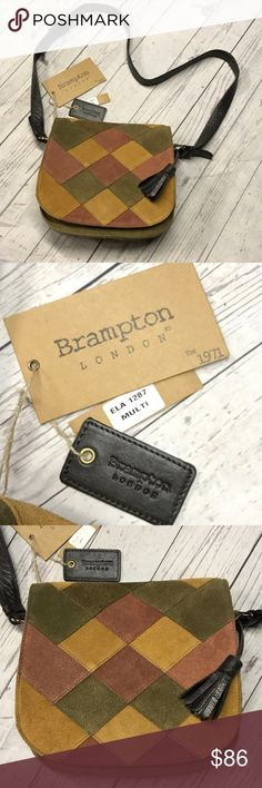 NWT Brampton London Gen. Suede Leather Crossbody Brand new with tags. Beautiful bag. Genuine leather. ELA 1287. Brampton London Bags Crossbody Bags