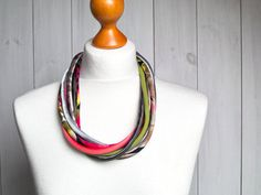 SPRING necklace statement textile necklace fabric by Zojanka