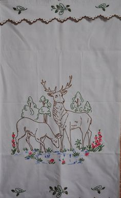 Vintage French Decor Panel -  Cafe Curtain or Blind - Hand Embroidered Cache Torchon - Deer