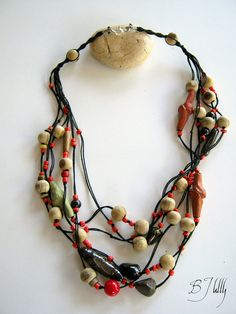 Sold - cannot be repeated. Statement Tribal Assymetric Knotted Necklace Ceramic by BJully, $25.00