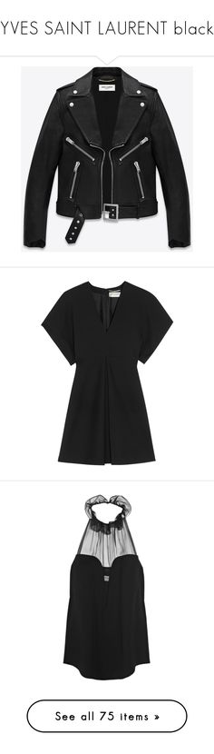 """""""YVES SAINT LAURENT black"""" by namelifny1 ❤ liked on Polyvore featuring classic, black, YSL, yvessaintlaurent, outerwear, jackets, leather jacket, coats & jackets, real leather jackets and yves saint laurent jacket"""