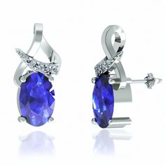 8ctw Oval Tanzanite Earring With .15ctw Diamonds in 14k White Gold