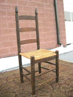 Original 1800's Antique Ladderback Chair with Rush Seat Nice primitive Chair #primitive