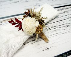 Cream brown gold burgundy rustic wedding BOUTONNIERE CORSAGE groom groomsman, Sola Flower, pine cone dried limonium custom - pinned by pin4etsy.com