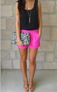 Love entire look - Clutch, wedge shoes, rebel pendant, tank and a pop of color in the shorts.