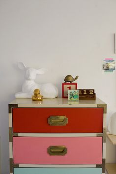 vintage seven-drawer campaign chest, each drawer of a complementary color or shade, purchased by joy cho of ohjoy.blogs.com (photo by bonnietsangblog.com)