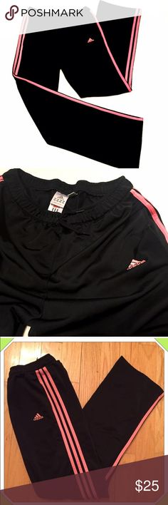 "❣BOGO 1/2 off❣Adidas loose fit 3 stripe pants Excellent condition! Black & coral. Loose fit throughout. Size medium. 100% polyester. 2 front pockets. Measures 33"" inseam, 31"" drawstring elastic waist, 12"" rise, 20"" bottom leg opening. Loose-fitting. See last pic for fit. 💟Check out my other adidas listings & bundle to save! 💟NO modeling. PRICE FIRM. Adidas Pants Track Pants & Joggers"