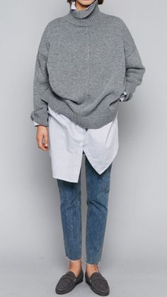 Long white button down, oatmeal top shop sweater, loafers, H&M jeans